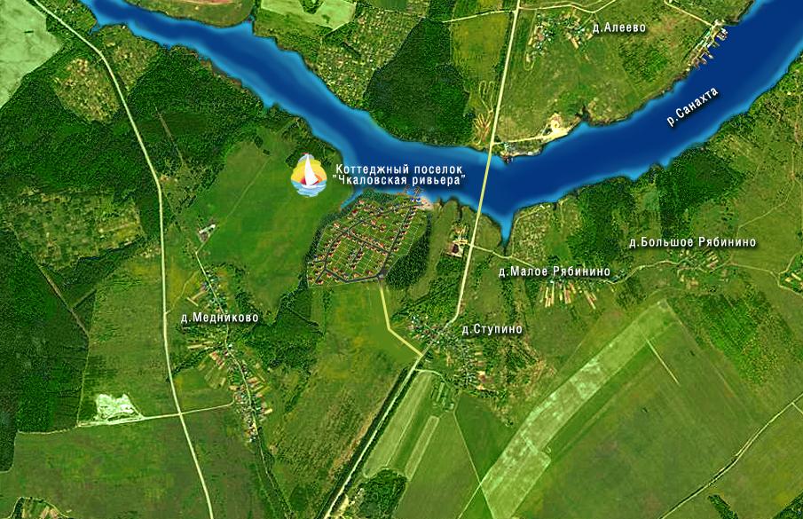 Карта местности возле поселка Чкаловская Ривьера